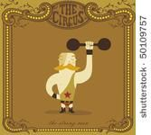 Vector Art: Classic Circus Strong Man Weightlifter — Vintage Vectors