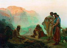 'Job en zijn vrienden', 1869 / Ilja Repin (1844-1930) / Russisch Museum, St. Petersburg, Rusland.