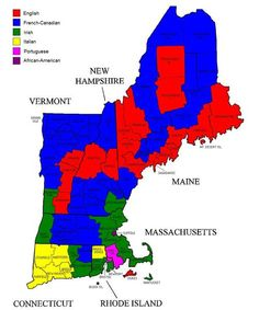 Ancestry with the Largest Population in each county of New England. [1023 x 1227]