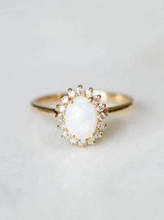 Opal Engagement Ring || Halo Engagement Ring