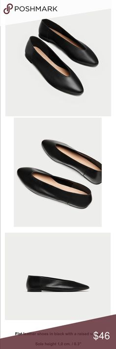 NWT ZARA Leather Ballet Flats Leather ballet flat with v-cut upper. Size 11/42. Zara Shoes