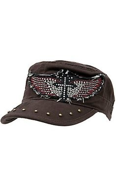 Rock & Roll Cowgirl Brown w/ Black & Red Embroidered Winged Cross w/ Crystals Military Style Cap. Gotta have.