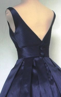 50s style navy shantung cocktail dress made to by elegance50s