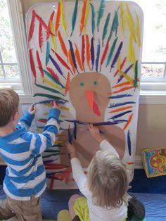 Sticky Paper Turkey by Teach Preschool