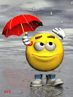 emoticon out in the rain looking great in a red umbrella!
