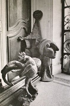 """Sculptures on the floor  of the front hallway of Picasso's home  """"La Californie""""  Cannes, France  1956"""
