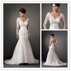 New Arrival V Neck  Vintage Lace Long Sleeve Wedding Dresses Backless vestido de noiva 2014 $189.99