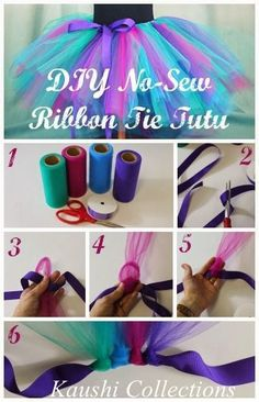 Howake a no sew tutu. Create a custom sized tutu with this easy no-sew ribbon tie tutu tutorial. This peacock inspired tutu is perfect for Halloween! Updated No-Sew Tutu, Toddlers and Infants Size Chart and Ideas- tulle, lace, fabric DIY No Sew Ribbon Tie Fun Crafts, Crafts For Kids, Arts And Crafts, Kids Diy, Tulle Crafts, Diy Gifts For Kids, Creative Crafts, Tutorial Tutu, Tutu Diy