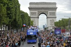Heroes welcome: French fans swarmed the Avenue des Champs-Elysees in Paris to welcome their Olympic heroes home. The French athletes boarded an open top bus for a victory parade through the capital.  Olympics 2012