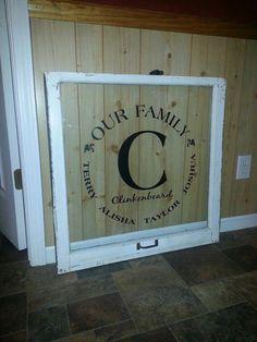 Like the monogram window pane .but love the flooring! pane ideas with sayings Old Window Crafts, Old Window Projects, Vinyl Projects, Fun Projects, Project Ideas, Old Window Panes, Window Art, Window Ideas, Window Frames