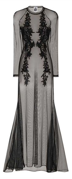 black sheer tulle gown with lace <3