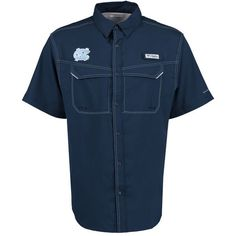 North Carolina Tar Heels Columbia PFG Low Drag Offshore Omni-Shade Button-Up Shirt - Light Blue - $59.99