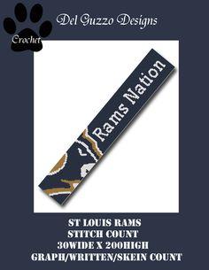 (4) Name: 'Crocheting : St Louis Rams Scarf Crochet Graph