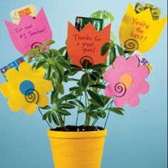"""Great end of the year teacher gift. Mix gift card flowers with """"card"""" flowers. Write """"Thankf for helping us grow"""" on pot with real plant."""