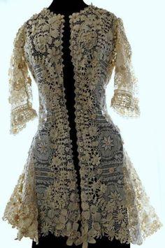 Antique Vtg Victorian Crochet Irish Lace Dress Top Headpiece Bridal Wedding | eBay
