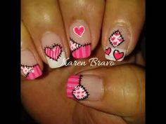 Funky Nail Art, Funky Nails, Cute Nail Art, Cute Nails, Pretty Nails, Quilted Nails, Valentine Nail Art, Spring Nail Art, Heart Nails