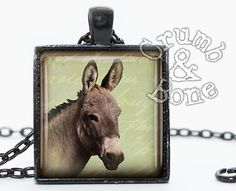 #Donkey Necklace #Burro #Mule Pendant #FarmAnimals Nature Jewelry by #crumbandbone use code 10OFF for 10% off everything in the shop!
