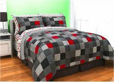 Minecraft Cave Red Black Grey Geo Block Teen Boy Bedding Twin XL Full Queen Comforter Bed Bag Set