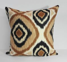 IKAT Designer  Brown and Black Decorative Pillow Cover, Accent Cushion,  Throw Pillow Cover