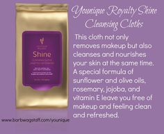 Royalty Shine Cleansing Cloths youniqueproducts.com/Facetime