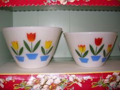 Fire King tulip mixing bowls!