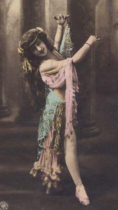 Beautiful Dancer in Art Nouveau Costume circa 1905