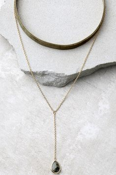 Cool Gold and Olive Green Necklace Set - Velvet Choker Necklace - Layered Necklace - $15.00