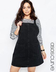 ade4fb7bc5c CURVE Denim Open Back Pinafore Dress In Washed Black