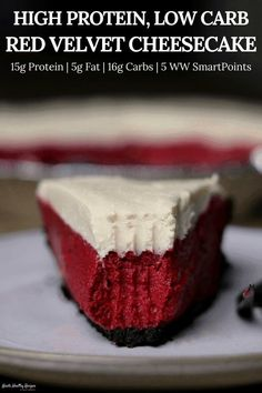 Red Velvet Protein Cheesecake – Kinda Healthy Recipes Perfect for the fitness loving Valentine in your life, this red velvet cheesecake has 15 grams of protein with just 16 grams of carbs and 165 calories per slice! Protein Desserts, Protein Snacks, Healthy Cheesecake Recipes, Protein Cheesecake, Red Velvet Cheesecake, Healthy Recipes, Healthy Baking, Healthy Desserts, Low Carb Recipes
