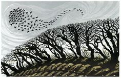 Niki Bowers - Winter Starlings, look great in textile Linocut Prints, Art Prints, Block Prints, Linoprint, Art For Art Sake, Wood Engraving, Woodblock Print, Tree Art, Bird Art