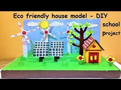 eco friendly house model school project (with windmill, solar panel) Science Exhibition Projects, Science Project Models, School Science Projects, Science For Kids, School Chalkboard Art, Solar Energy For Kids, Solar Panel Project, Homeschool Science Curriculum, Renewable Energy Projects