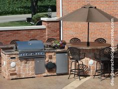 decorative stamped concrete patio design kitchen grill area