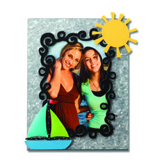 Create custom frames for all occasions.  Change out colorful magnets and favorite photos for unique year round displays. Sun and Sailboat Magnets from Embellish Your Story by Roeda.