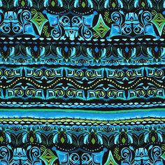"""Blue Green Mayan Ethnic Cotton Spandex Knit Fabric - A definite jungle Mayan feel to this ethnic print in lush blues and greens on a mid weight cotton spandex knit.  Fabric is soft with a nice drape and 4 way stretch.  Pattern repeat is 13"""" (see image for scale).  ::  $6.50"""