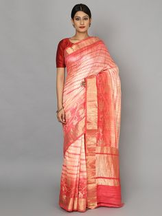 Peach Beige Hand Woven Banarasi Cotton Silk Saree