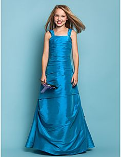 Junior Bridesmaid Dress Floor-length Taffeta A-line/Princess... – USD $ 99.99