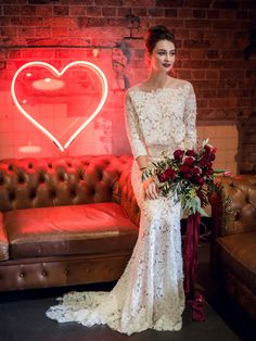 A romantic, industrial wedding inspiration shoot with neon lights, red floral designs, a lace wedding dress, and gold details. Chic Wedding Dresses, Perfect Wedding Dress, Lilac Wedding, Wedding Colors, Industrial Wedding Inspiration, 2018 Wedding Trends, Beautiful White Dresses, Alternative Wedding, Mellow Yellow