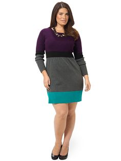 Color block Sweater Dress by Jessica Howard, Available in sizes M/L/XL