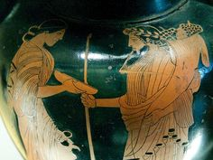 Red figure vase. Hades and Persephone. Detail from an Attic red-figure amphora, ca. 470 BC. From Italy.Oionokles Painter.