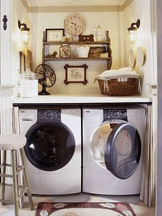 A front-loading washer and dryer make it possible to install a folding counter with plenty of elbowroom: http://www.bhg.com/rooms/laundry-room/makeovers/hidden-laundry-rooms/?socsrc=bhgpin032114tightspace&page=2
