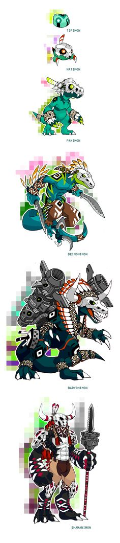 Native Fossil Digimon Line by darksilvania.deviantart.com on @deviantART