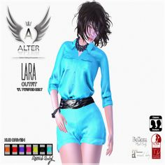 Lara Twisted Belt Outfit. Second Life Free Group Gift. This outfit comes in five sizes and in sizes for mesh bodies. Trendy for this summer .