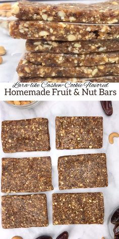These 2-ingredient homemade fruit and nut bars were inspired by my love for the cashew-cookie flavored LaraBar. They are the perfect snack to take with you on a hike or bike ride, or to satisfy a mid-day sweet tooth. #EnergyBar #Nutrition #Hiking  #Food #NutBar No Cook Desserts, Healthy Desserts, Just Desserts, Delicious Desserts, Yummy Food, Healthy Recipes, Healthy Snack Bars, Healthy Eating, Homemade Larabars