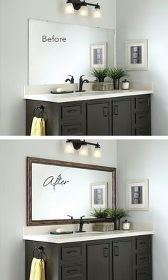 Add a MirrorMate frame to the mirror – while it's on the wall – for an instant bathroom upgrade. Cover desilvering edges too! Add a MirrorMate frame to the mirror – while it's on the wall – for an instant bathroom upgrade. Cover desilvering edges too! Home Renovation, Home Remodeling, Bathroom Renovations, Kitchen Remodeling, Amazing Bathrooms, House Design, Mirror Ideas, Home Decor, Framed Mirrors