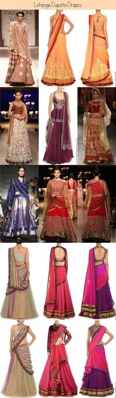 Lehenga Dupatta Drape Styles | Lehenga Design | Indian Wedding Wear | Indian Bride | Bridal Lehenga Dupatta and Veil | Indian Wedding Guest | What to wear to an Indian wedding | Ghagra Blouse Dupatta Drapes | India Traditional and Designer Wear