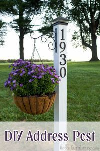 Creative Ways to Increase Curb Appeal on A Budget - DIY Address Post- Cheap and Easy Ideas for Upgrading Your Front Porch, Landscaping, Driveways, Garage Doors, Brick and Home Exteriors. Add Window Boxes, House Numbers, Mailboxes and Yard Makeovers http:/
