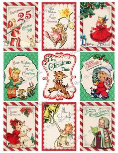 New vintage christmas tags diy etsy ideas Christmas Tags Printable, Christmas Gift Tags, Christmas Art, Primitive Christmas, Country Christmas, Xmas, Vintage Christmas Images, Vintage Holiday, Christmas Pictures