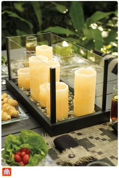 Create an enchanting glow in your backyard with this DIY Candle Tray centrepiece. Candle Tray, Candle Lanterns, Candles, Home Projects, Projects To Try, Outdoor Projects, Simple Centerpieces, Home Hardware, Hardware Stores