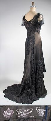 1910 Black Silk Crepe de Chine dress