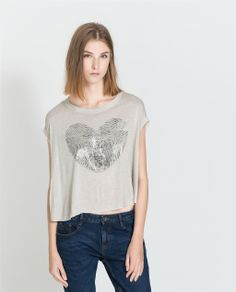Image 1 of T-SHIRT WITH HEART/BOW from Zara